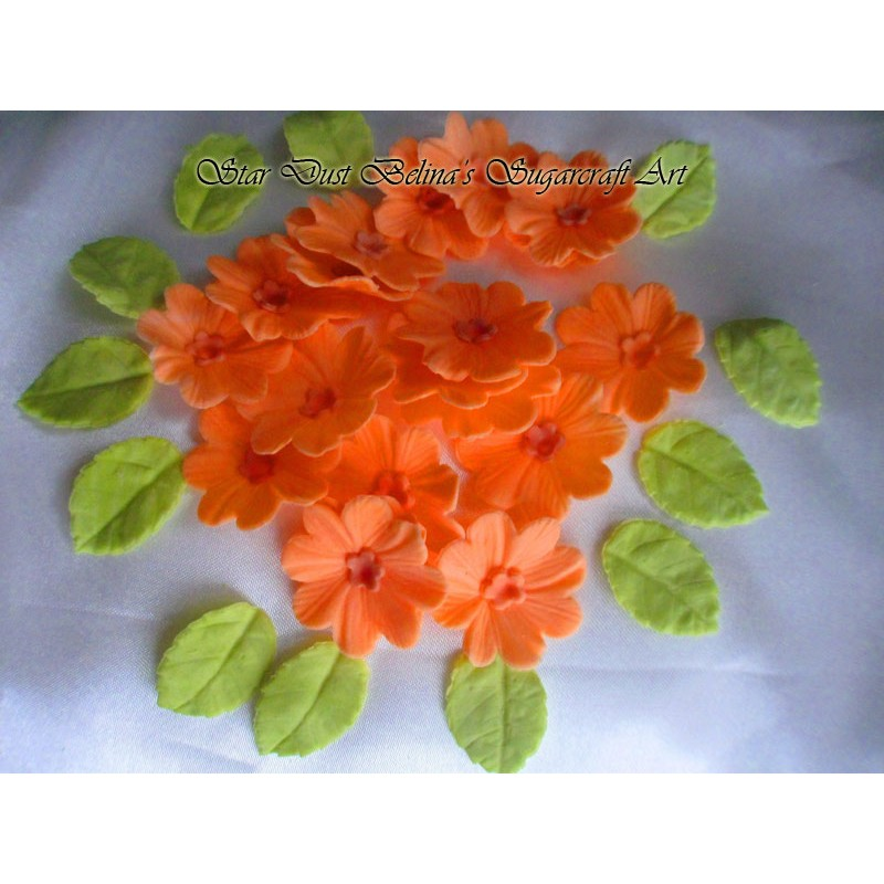 Orange sugar flowers