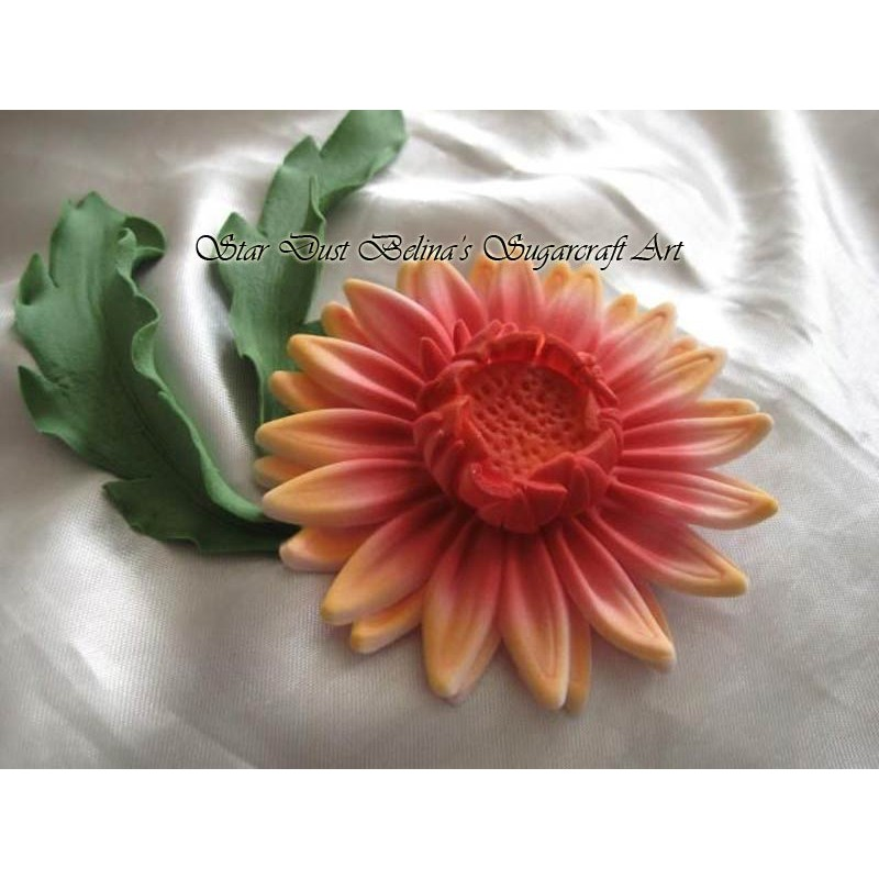 Handcrafted edible Daisy Gerbera with leafs