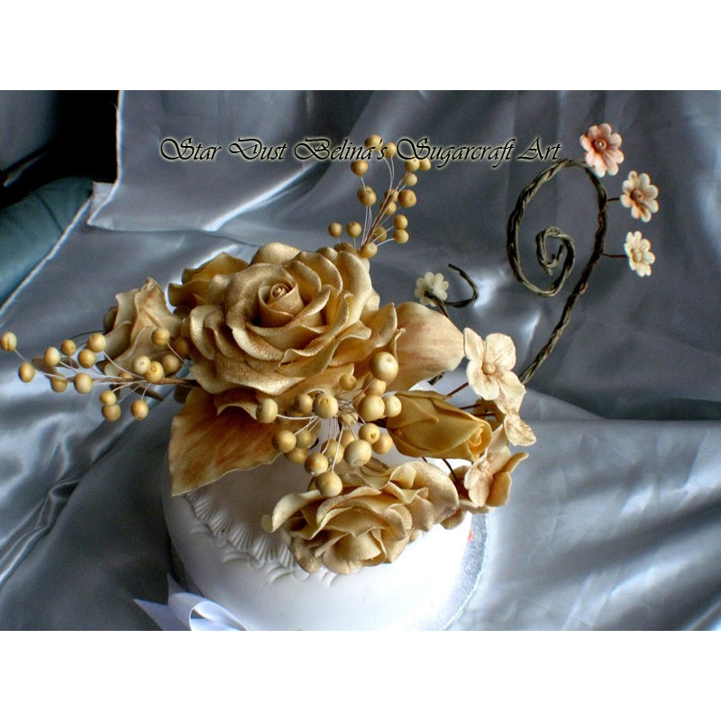 Gold roses sugar bouquet
