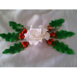 Christmas roses sugar flowers with holly leaves