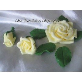 Cream coloured roses rosebuds and leafs