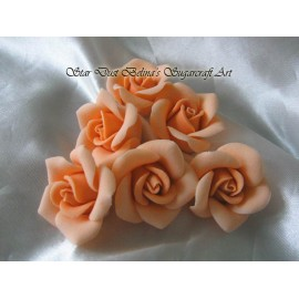 Small orange coloured sugar roses