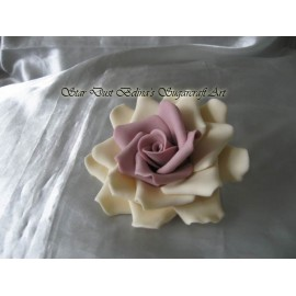 Three XL Ivory / lilac roses sugar flowers